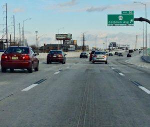 New 4-lane section of I-95 at the Cottman Interchange