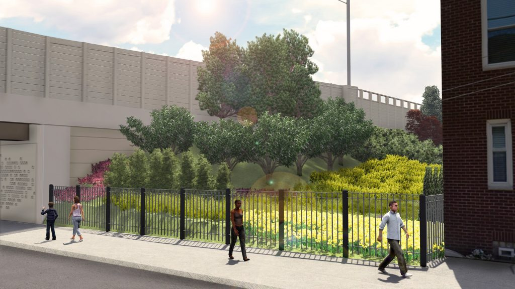 Rendering of new landscaping along I-95